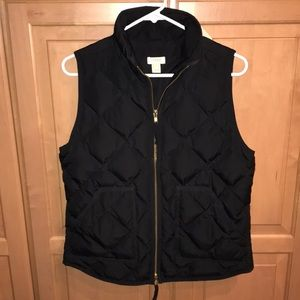 J. Crew Quilted Black Vest, women's small
